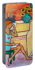Portable Battery Charger featuring the painting Home Where My Heart Is Iv by Xueling Zou