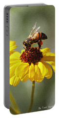 Honey Bee And Brittle Bush Flower Portable Battery Charger