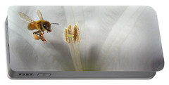 Honey Bee Up Close And Personal Portable Battery Charger by Joyce Dickens