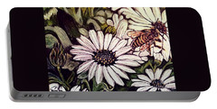 Honeybee Cruzing The Daisies Portable Battery Charger by Kimberlee Baxter