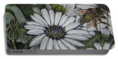 Honeybee Taking The Time To Stop And Enjoy The Daisies Portable Battery Charger by Kimberlee Baxter