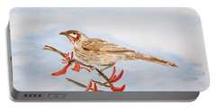 Honeyeater Coming Home Portable Battery Charger by Elvira Ingram