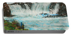 Honeymoon At Godafoss Portable Battery Charger by Alys Caviness-Gober