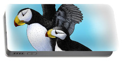 Horned Puffins Portable Battery Charger by Roger Hall
