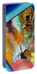 Portable Battery Charger featuring the painting Hornets by Daniel Janda