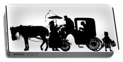 Horse And Carriage Silhouette Portable Battery Charger