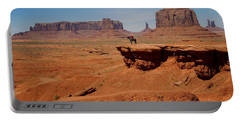 Horse And Rider In Monument Valley Portable Battery Charger