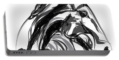 Horse- Apple -digi - Black And White Portable Battery Charger