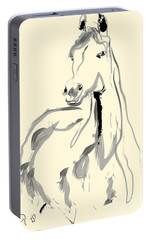 Portable Battery Charger featuring the painting Horse - Arab by Go Van Kampen