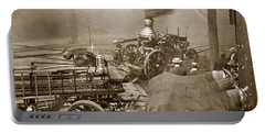 Horse Drawn Water Steam Pumper Fire Truck Circa 1906 Portable Battery Charger