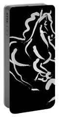 Horse - Fast Runner- Black And White Portable Battery Charger