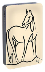 Portable Battery Charger featuring the painting Horse - Grace by Go Van Kampen