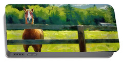 Horse In The Field Portable Battery Charger by Jeff Kolker