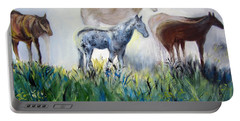 Horses In The Fog Portable Battery Charger