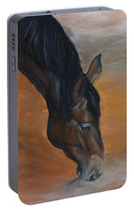 Portable Battery Charger featuring the painting horse - Lily by Go Van Kampen