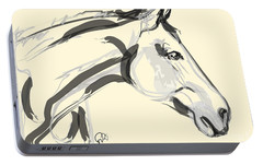 Portable Battery Charger featuring the painting Horse - Lovely by Go Van Kampen
