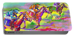 Horse Race  Three Portable Battery Charger by Mary Armstrong