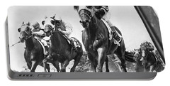 Horse Racing At Belmont Park Portable Battery Charger by Underwood Archives