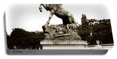 Portable Battery Charger featuring the photograph Horse Sculpture Trocadero  Paris France 1900 Historical Photos by California Views Mr Pat Hathaway Archives