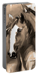 Horse Together 1 Sepia Portable Battery Charger by Go Van Kampen