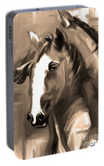 Portable Battery Charger featuring the painting Horse Together 1 Sepia by Go Van Kampen