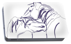 Portable Battery Charger featuring the painting Horse - Together 10 by Go Van Kampen