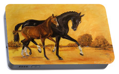 Portable Battery Charger featuring the painting Horse - Together 2 by Go Van Kampen