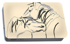 Portable Battery Charger featuring the painting Horse - Together 4 by Go Van Kampen