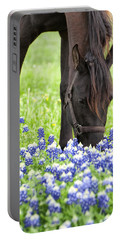 Horse With Bluebonnets Portable Battery Charger