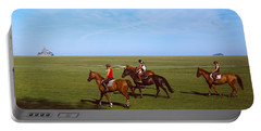 Horseback Riders In A Field With Mont Portable Battery Charger
