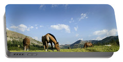 Horses Graze In Pasture, California Portable Battery Charger
