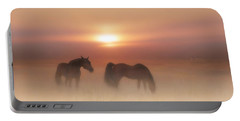 Horses In A Misty Dawn Portable Battery Charger
