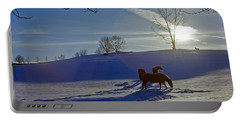 Horses In Snow Portable Battery Charger