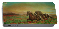 Portable Battery Charger featuring the painting Horses In The Field With Poppies by Sorin Apostolescu