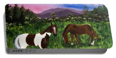 Portable Battery Charger featuring the painting Horses by Jamie Frier