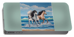 Horses On A Beach Portable Battery Charger