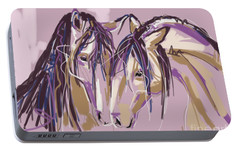 Portable Battery Charger featuring the painting horses Purple pair by Go Van Kampen