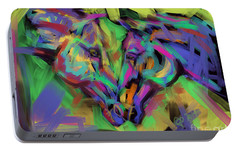 Portable Battery Charger featuring the painting Horses Together In Colour by Go Van Kampen