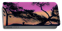 Portable Battery Charger featuring the drawing Hot Pink Sunset by D Hackett