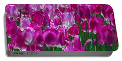 Hot Pink Tulips 3 Portable Battery Charger by Allen Beatty