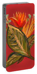 Portable Battery Charger featuring the digital art Hot Tulip L by Christine Fournier