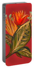 Portable Battery Charger featuring the digital art Hot Tulip R by Christine Fournier
