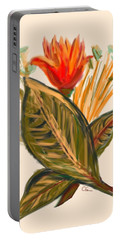 Portable Battery Charger featuring the digital art Hot Tulip Spring by Christine Fournier