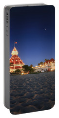 Hotel Del At Night Portable Battery Charger by Scott Cunningham