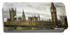 Houses Of Parliament On The Thames Portable Battery Charger by Heather Applegate