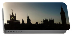 Houses Of Parliament Skyline In Silhouette Portable Battery Charger