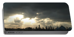 Portable Battery Charger featuring the photograph Houston Refinery At Dusk by Connie Fox