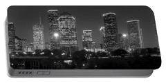 Houston Skyline At Night Black And White Bw Portable Battery Charger