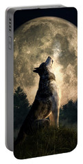 Howling Wolf Portable Battery Charger by Daniel Eskridge