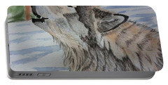 Howling Wolf In Winter Portable Battery Charger by Brenda Brown